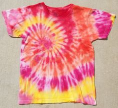 Pink Orange Yellow Small tie dye shirt. $12.00, via Etsy.
