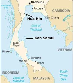 Where is Koh Samui? It takes about an hour by plane from Bangkok. Gulf Of Alaska, Gulf Of California, Koh Samui Thailand, Sea Of Japan, Koh Chang, By Plane, Honeymoon Destinations, Study Abroad, Pacific Ocean