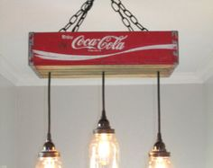 Coca Cola Chandelier/Ceiling Light with by OutoftheWdworkDesign