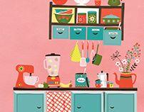 Pink kitchen illustration by Tjarda Borsboom 2016