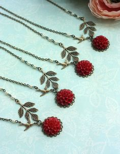Set of Four (4) - A Red Chrysanthemum, Dahlia Flower, Swallow Bird, Leaf, Ivory Pearls Necklace. Wedding Bridesmaids Gifts. For Sisters.. $95.00, via Etsy.