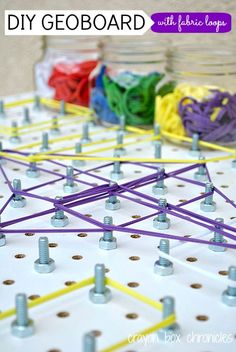 DIY Geoboard with Fabric Loops by Crayon Box Chronicles. Easy to set-up and great for learning math concepts, shapes, and fine motor. Stem Activities, Toddler Activities, Learning Activities, Kids Learning, Geo Board, Crayon Box, Math Concepts, Early Childhood Education, Diy Toys