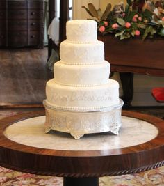 Lace Wedding Cake - This Vintage Lace Wedding Cake was set up in a Plantation Home decorated for Christmas - stunning!