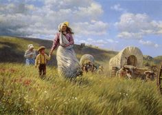 Mormon pioneers crossing plains to Salt Lake Valley. They were driven away from Nauvoo, Illinois after Joseph Smith was martyred. (painting by Clark Kelley Price) Arte Lds, Pioneer Trek, Pioneer Life, Pioneer Woman, Mormon Pioneers, Lds Pictures, Lds Art, Into The West, Church History