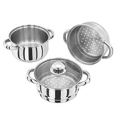 Judge 16 Centimeter Steamer Set with Glass Lid 3 Tier Steamer, Kitchenware, Stainless Steel, Canning, Airmail, Glass, Current Events, United Kingdom, Ships