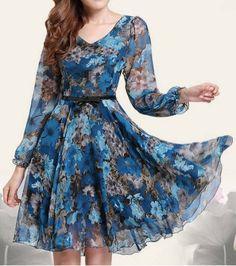 Floral Print Retro Style Puff Sleeve Chiffon Slimming Women's DressPrint Dresses | RoseGal.com