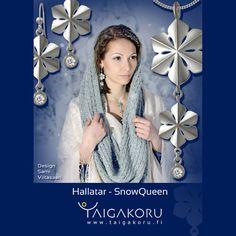 Snowqueen, jewelry, jewellery. Design Sami Viitasaari Snowflake Jewelry, Snow And Ice, Finland, Hanukkah, Snowflakes, Presents, Wreaths, Jewellery, Frame