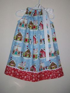 3be224cf9cae9 Christmas Dress Gingerbread House Pillowcase Dress with Penguins Holiday  Dresses Kids Christmas Clot Toddler Girl Christmas