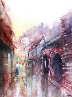 Peinture de Rocamadour par Nicolas Jolly. www.nicolasjolly.net www.society6.com/NicolasJolly
