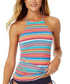 Blue & Pink Stripe High-Neck Tankini Top #zulily #zulilyfinds