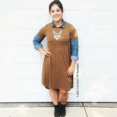 Day of errand running keeping casual/ classy in a lularoe Carly swing dress over a chambray shirt  #lularoe #lularoecarly #chambrayshirt #ootd #fallfashion #style #fashion #falloutfitideas