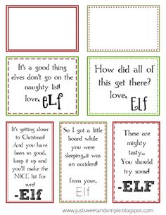 just Sweet and Simple: Printable Elf on the Shelf Notes Elf On Shelf Notes, Shelf Elf, All Things Christmas, Christmas Holidays, Christmas Ideas, Christmas 2017, Merry Christmas, Christmas Gifts, Christmas Decorations