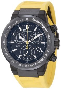 Ferragamo Men%27s F55LCQ6809 SR05 F-80 Ceramic Tachymeter Bezel Sapphire Crystal Yellow Rubber Chronograph Date Watch