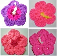 Crochet Pattern PDF file for Hibiscus Flower & Leaf Coasters & Hot Pads #404