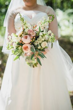 Pink fall wedding bouquet filled with seeded eucalyptus and pink english tea roses. I love these bronze Mischka Badgley open toe wedding day heels with crystal accents. Fall Wedding in the woods at Camp Linden in Linden, Michigan by Kari Dawson Photography and her team.