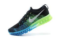meet 891f7 58589 Size Euro 41 Men Nike Air Max Flyknit Black Blue Lagoon Electric Green  Silver
