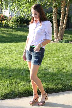 My favorite way to wear boyfriend shorts in summer, which has become my summer uniform! #jcrew