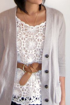 Lace and cardigan with a belt // Putting Me Together