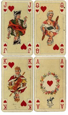 Wings of Whimsy: Antique French Playing Cards - Hearts - free for personal use by Alice H. Playing Cards Art, Vintage Playing Cards, Vintage Cards, Vintage Paper, Printable Playing Cards, Vintage Clocks, Printable Scrapbook Paper, Decoupage Vintage, Printable Cards