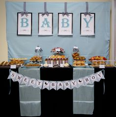 Boy baby shower dessert table and backdrop! See more party ideas at… Fiesta Baby Shower, Baby Shower Brunch, Shower Party, Baby Shower Games, Baby Shower Parties, Baby Boy Shower, Office Baby Showers, 2nd Baby Showers, Baby Shower Elegante