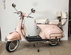 Fully Restored 1963 Pink with White Leather Vintage Italian, Piaggio Vespa 2