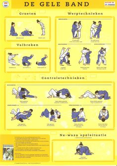 """Throws- and Control-Techniques to attain the Yellow belt. From the Judo Infographic: """"Judotechnieken: De Gele Band"""" Martial Arts Quotes, Best Martial Arts, Martial Arts Styles, Martial Arts Techniques, Martial Arts Workout, Mixed Martial Arts, Jiu Jitsu, Judo Gi, Learn Krav Maga"""