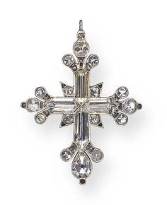 AN ANTIQUE DIAMOND CROSS PENDANT   Each arm set with a hogback-cut diamond, enhanced by pear and old mine-cut diamond trefoil motif terminals, further accented by old mine-cut diamonds, mounted in silver and gold, circa 1790