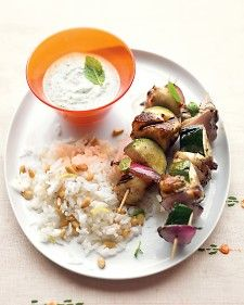 A touch of olive oil, vinegar, and oregano makes these kebabs sing. For an even creamier dipping sauce, try thick, flavorful Greek yogurt.