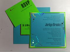 Neon Green Invitation - For Bat Mitzvahs and Other Celebrations