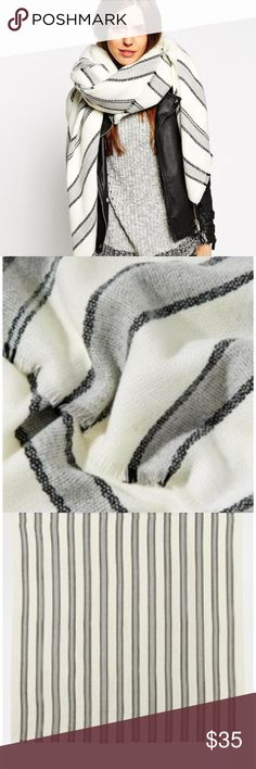 ASOS Collection gray & white striped blanket scarf This is such a great scarf, but I have two that are too similar to keep. This looks fabulous in the beginning of spring with white jeans, as the white is a rare true white. Good for those chilly mornings and evenings, and will serve you almost year-round! In excellent condition. As seen on Lemon Stripes! ASOS Accessories Scarves & Wraps