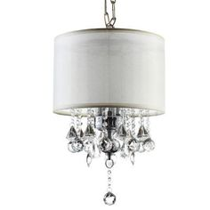 3-Light Silver Drop Assorted Crystal Chandelier
