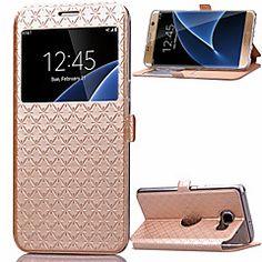ling kockás minta kiváló minőségű pu pénztárca bőrtok Samsung Galaxy S7 él / S7 / s6 / s6 él (vegyes színek)