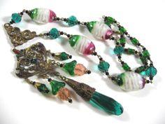 Fabulous Vintage Czech Bohemian Glass Pendant Wired Necklace | eBay