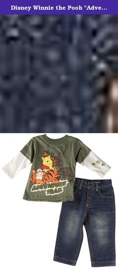 "Disney Winnie the Pooh ""Adventure Trail"" Olive Infant Top & Pants Set (12M). Join Tigger and Pooh on a nature walk wearing this cozy and cute Disney Winnie the Pooh ""Adventure Trail"" top and denim pants set. This Disney Winnie the Pooh ""Adventure Trail"" top and jeans set feature best buddies, Pooh and Tigger with layered look long sleeves. Denim bottoms feature a half elastic waist for a perfect fit. Perfect for any Disney Winnie the Pooh and Tigger fan!."