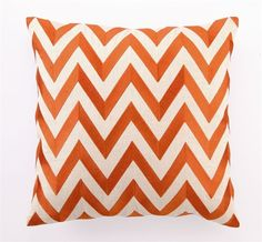 Orange zigzag embroidered pillow (from The Inglenook Decor) $ 94.50