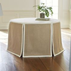 """Paneled Party Tablecloth Burlap  108""""  , Ballard Designs, 1/14  $120. dressy cover for round entry table"""