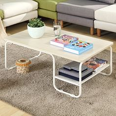 Topeakmart Modern Rectangular Wood Coffee Table With White Metal Storage  Shelf And Tube Legs Living Room Furniture    Learn More By Visiting The  Image Link.