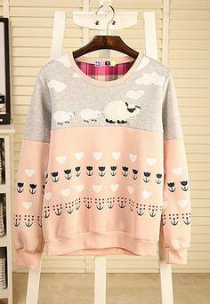 29.99 USD Cute Sheep Flower Print Mixed Colors Crewneck Sweatshirt