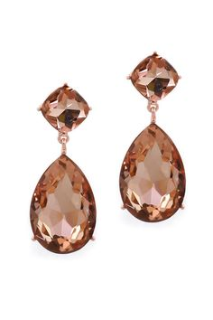 Classic Champagne Andrea Earrings   Brilliant Cut Champagne Crystals elegantly set in a classic teardrop setting