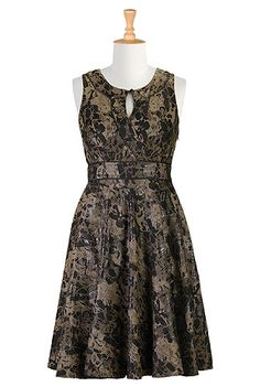 eShakti Wood floral jacquard dress    Appears to be a very lovely dress, but why are all winter party dresses SLEEVELESS?!?!? SNOW IS LIKELY!!!!