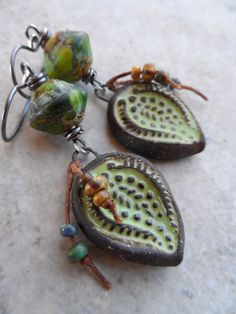 Green Goodness ... Lampwork, Ceramic and Sterling Silver Wire-Wrapped Earrings