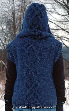 """62/"""" Chunky Wool Knitting Pattern Easy Womans Long Hooded Zig Zag Cable Coat 28/"""""""
