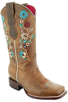 Amazon.com | Soto Boots Women's Jasmine Floral Square Toe Cowgirl Boots M50043 (Tan, 5.5 B(M) US) | Mid-Calf Leather Fashion, Fashion Boots, Band Rings Women, Girl Cowboy Boots, Warm Winter Boots, Naot Shoes, Snow Boots Women, Pull On Boots, Platform Sneakers
