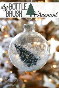 Vintage Mica Snow Bottle Brush Christmas Tree Ornament #christmasornament