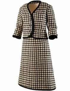 Black-and-white houndstooth wool tweed suit with black braid trim, by Bob Bugnand, French, 1959. Worn by Jacqueline Kennedy during the 1960 presidential campaign.