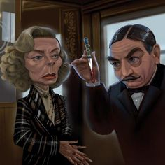 "Caricature of Lauren Bacall and Albert Finney in ""Murder on the Orient Express"" (1974)"