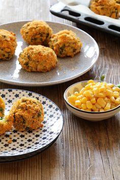 Crispy baked corn and rice balls