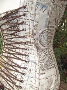 Map printed corset