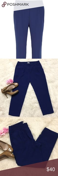 J Crew pleated crepe navy pants sz 4 EUc no rips or stains, size 4 pants with 2 front pockets. J. Crew Pants Ankle & Cropped
