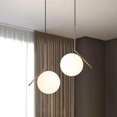 Modern Minimal Gold Pendant Light - All For House İdeas Cheap Chandelier, Chandeliers, Home Lighting, Modern Lighting, Pendant Lighting Bedroom, Restaurant Bar, Modern Pendant Light, Pendant Lamp, Gold Pendant